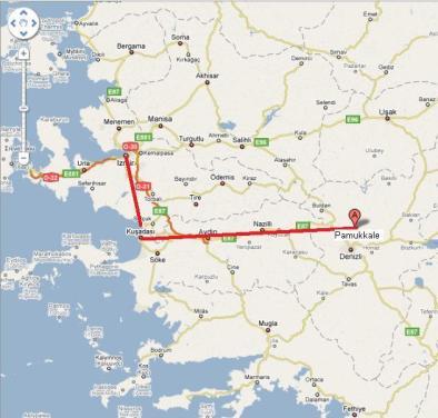Karte-Izmir-Kuşadası-Pamukkale