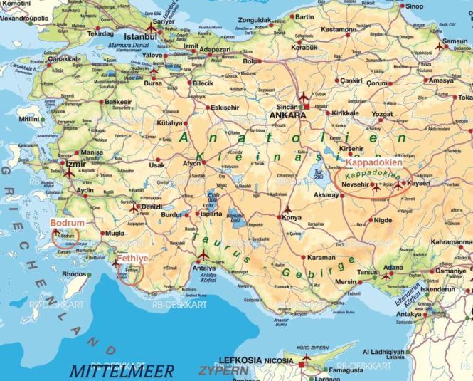 Karte Türkei- Bodrum, Fethiye, Kappadokien