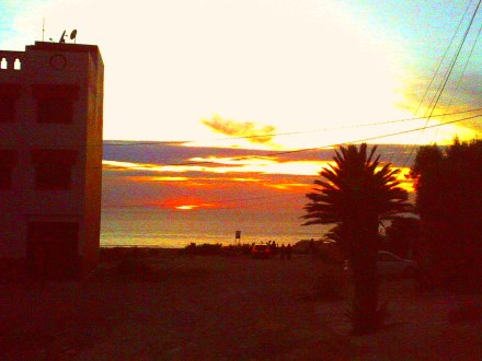 Sonnenuntergang vorm Camp