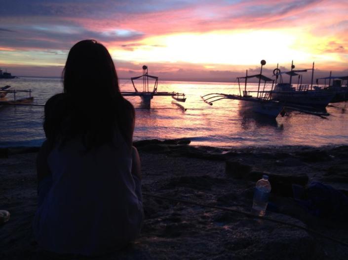 Sonnenuntergang auf Apo Island
